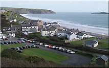 SH1726 : The car park and pump house on the north side of Afon Daron at Aberdaron by Eric Jones