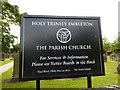 NU2322 : Holy Trinity, Embleton, Sign by Alexander P Kapp