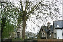 TQ3473 : St Peter's Church, Dulwich Common, and derelict house by Christopher Hilton