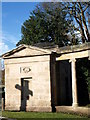 SJ3677 : Cenotaph shadow, Hooton, Cheshire by Liz Taylor