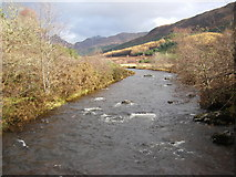 NM8363 : Strontian River from footbridge by Peter Bond