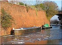 SO8171 : Work boats moored by the former railway bridge, Staffordshire & Worcestershire Canal by P L Chadwick