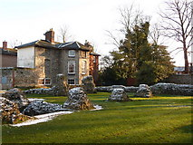 TL8564 : Bury St. Edmunds: residual snow over abbey ruins by Chris Downer