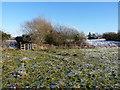 SO8796 : Footpath, gate and Hill Croft Farm by Richard Law