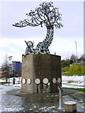NZ4057 : 'Shadows in Another Light' by Craig Knowles, Colin Wilbourn and Karl Fischer (1998), St Peter's Riverside by Andrew Curtis