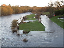 NZ2115 : River Tees high from melting snow by David Hawgood