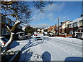 SU6805 : Mid section of a snowy St. Andrew's Road by Basher Eyre
