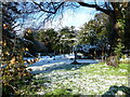 SU6805 : A snowy churchyard at St. Andrew's, Farlington by Basher Eyre