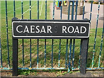 SP2871 : Street name sign, Caesar Road, Kenilworth by John Brightley