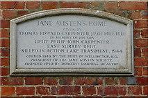 SU7037 : Plaque at Jane Austen's home by Graham Horn