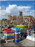 NT6779 : Colourful fishboxes at Victoria Harbour, Dunbar by Jennifer Petrie