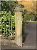 SJ3688 : Gatepost in Prince's Park by John S Turner