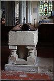 TL4538 : Holy Trinity, Chrishall, Essex - Font by John Salmon