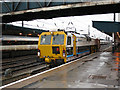 SE5703 : Doncaster station: engineer's train passing through by Stephen Craven