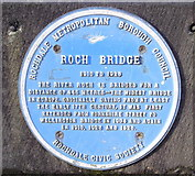 SD8913 : Blue Plaque, Roch Bridge, The Esplanade by Robert Wade