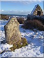 T1204 : Gravestone at St. Vaugh's chapel in snow by Liam Millar