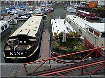 ST5772 : Narrow boats moored at Bristol Marina by Anthony O'Neil