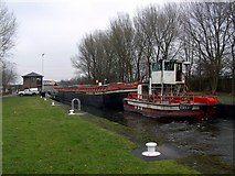 SE4326 : Large Barge in Bulholme Lock Castleford by derek dye