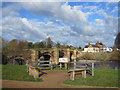 SJ3845 : Information point at Bangor on Dee Riverside Walk by John S Turner