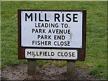 TM3863 : Mill Rise sign by Geographer