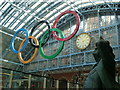 TQ3082 : Giant Olympic Rings in St Pancras International  by Graham Hogg