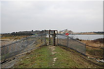 TQ7076 : Gate on the Saxon Shore way near Cliffe Fort by N Chadwick