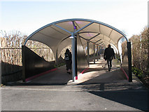 TQ3980 : Covered walkway to the QE2 Pier by Stephen Craven
