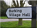 TM0652 : Barking Village Hall sign by Adrian Cable