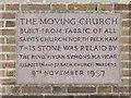 TQ4158 : St Mark, Church Road, Biggin Hill - Foundation stone by John Salmon