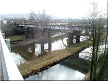 SS7597 : Canal, river and railway bridge, Neath by Jaggery