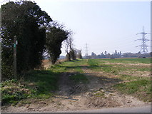 TM3959 : Back Lane footpath to the A1094 Farnham Road by Geographer