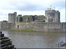 ST1587 : Caerphilly Castle, Southern Dam by Colin Smith