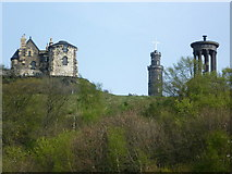 NT2674 : Calton Hill monuments from Leith Street by kim traynor