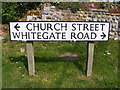 TG2536 : Church Street/Whitegate Street sign by Adrian Cable