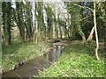 TG1833 : Scarrow Beck above Aldborough Mill by Robin Stott