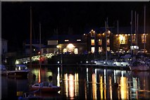 SH5638 : Porthmadog Harbour at Night by Christine Matthews
