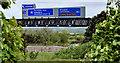 J3478 : Motorway gantry sign near Belfast by Albert Bridge