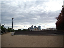 TQ3980 : View of Canary Wharf from East India Dock by Robert Lamb