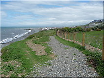 SN4562 : The coast path approaching Aberaeron from the south-west by Jeremy Bolwell