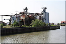 TG5107 : Disused wharf and silos, Great Yarmouth by Glen Denny