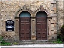 NY9038 : Doorways, Primitive Methodist Chapel, Westgate by Andrew Curtis