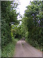 TM2855 : Footpath to the B1078 & entrance to Thorpe Hall Farm by Adrian Cable