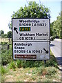 TM3655 : Roadsign on the B1078 Orford Road by Adrian Cable