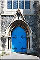 TQ2864 : Holy Trinity, Manor Road, Wallington - Doorway by John Salmon