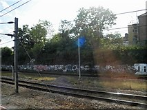 TQ3187 : Trackside graffiti near Finsbury Park by Steve  Fareham