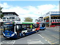 ST2995 : Two Stagecoach buses enter Cwmbran bus station by Jaggery