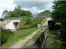 SK4478 : Footbridges under the A6135, Renishaw by Andrew Hill