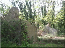 TQ3370 : Sphinxes on the site of the Crystal Palace by Marathon