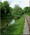 SJ9949 : River, canal and railway north of Consall Forge, Staffordshire by Roger  Kidd