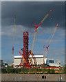 TQ3784 : Under construction: 'Orbit', Olympic Park by Jim Osley